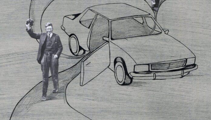 Un ejecutivo saluda al aire tras salir de un vehículo corporativo de renting. Ilustración exclusiva de PATRICIA JADRAQUE para FLEET PEOPLE