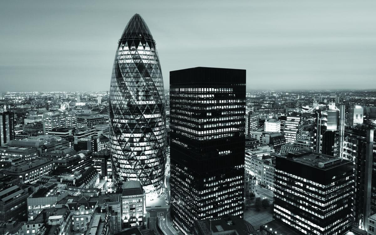 Aspecto del distrito financiero de Londres.