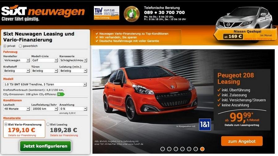 El anuncio del Peugeot 208 en renting para particulares que efectuó SIXT. FOTOGRAFÍA: AUTOMOBILWOCHE.DE