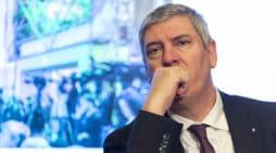 El Presidente de los fabricantes Anfac, José Vicente De los Mozos, presentan en rueda de prensa la 100 edición de la feria de Automobile de Barcelona, en Madrid el 4 de febrero de 2019.