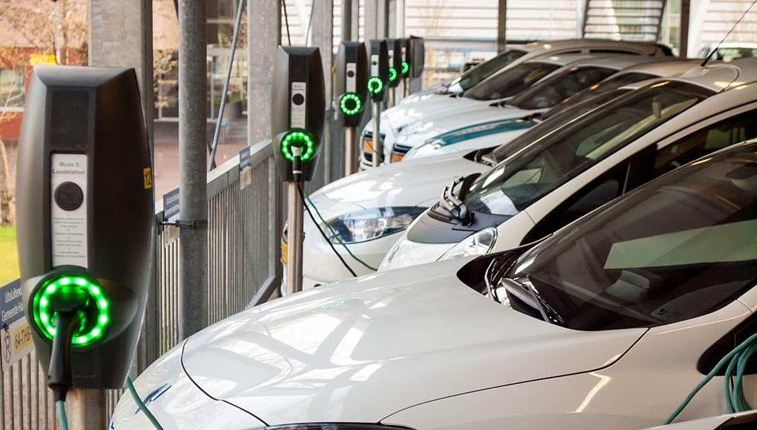 Varios vehículos eléctricos se recargan en un grupo de puntos de recarga. / FOTOGRAFÍA: DAVID HANLON