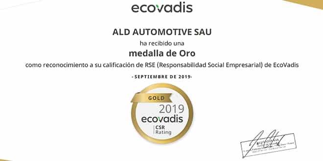 ALD logra la certificación ECOVADIS Gold por su gestión de RSC