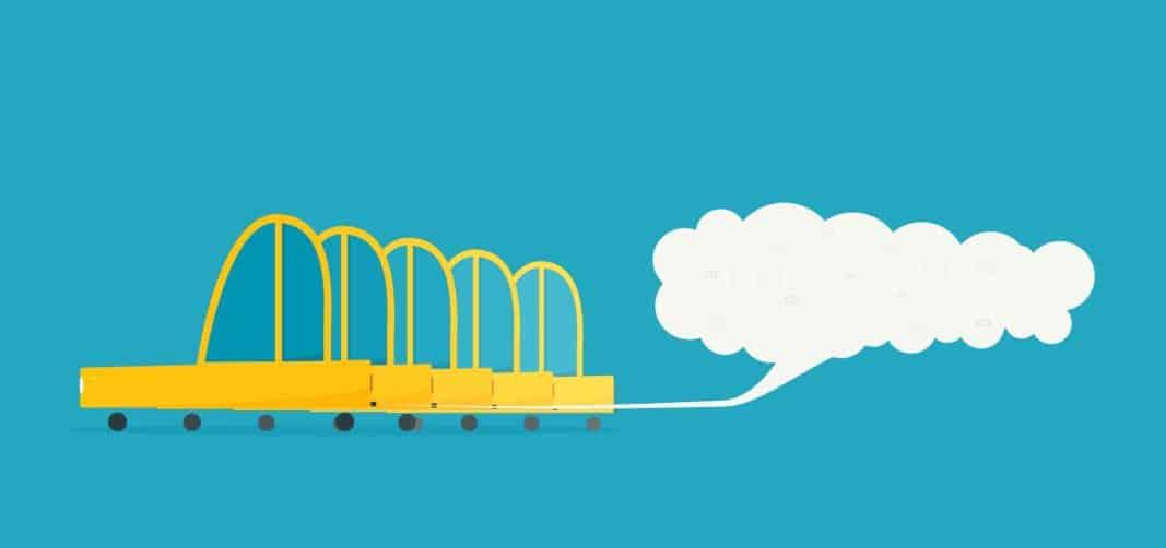 Un grupo de automóviles emitiendo CO2 y humo en una ilustración.
