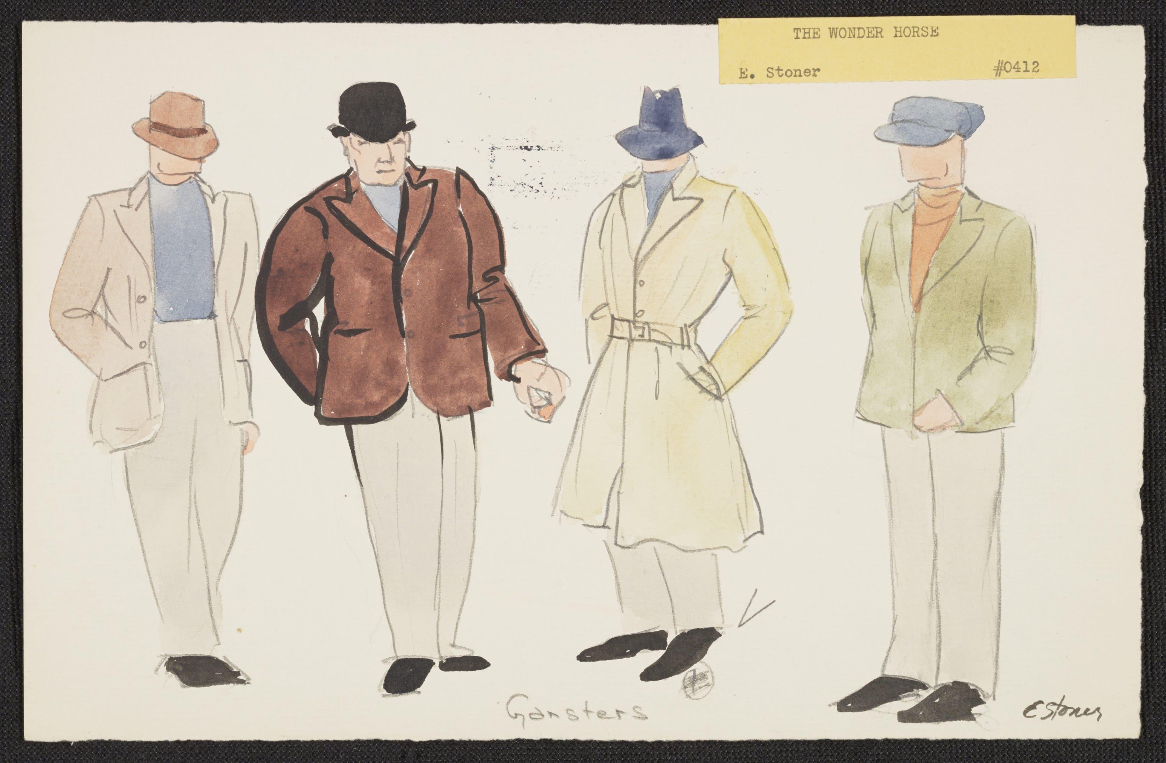 Gángsteres, cuatro hombres vestidos con abrigos y sombreros. ILUSTRACIÓN DE EMILE STONER (Nueva York, 1936). TBOC