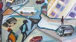 coches en la calle, oleo sobre lienzo de zoya kriminskaya