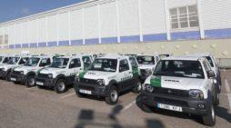 Una flota de renting de Suzuki Jimny, de la Consejería de Medio Ambiente de Castilla y León, en noviembre de 2017. JCYL