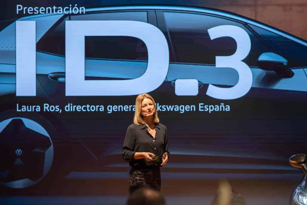 Laura Ros, directora de VW España, presenta el eléctrico ID.3 en Madrid.