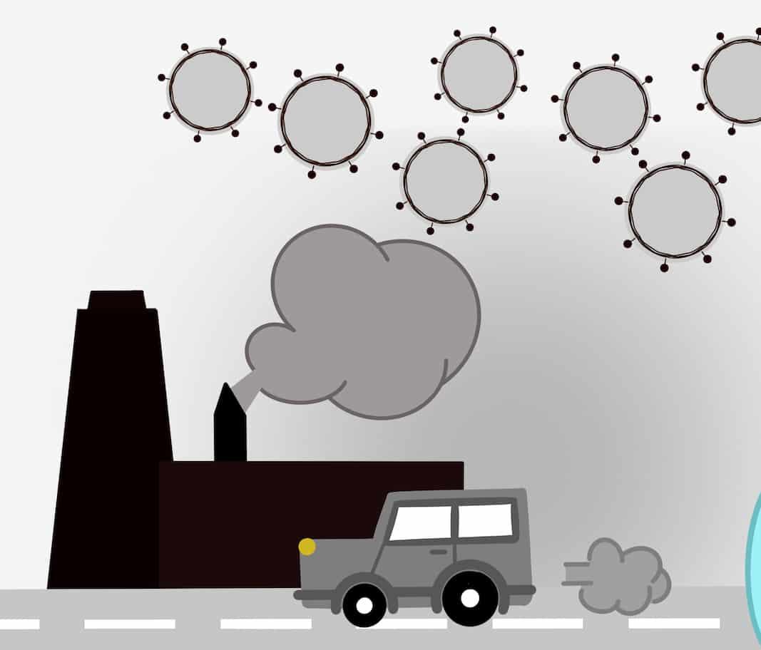 Ilustración de una fabrica de producción de coches asociada a coronavirus. Imagen de Shutterstock