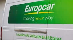 France - 10 01 2020 europcar logo and sign rent car lon side truck panel van of rental french vehicles