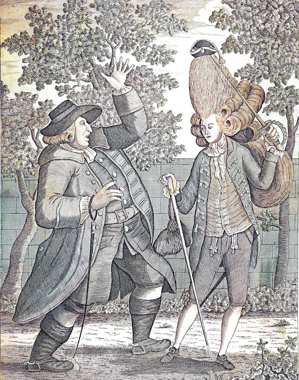 """""""¿Es este mi hijo Tom""""?. Un padre observa, horrizado, la imagen exterior de su hijo, convenientemente """"macaronizado"""" a la moda. Atención al año: 1774. PINTURA: SAMUEL HIERONYMUS GRIMM"""