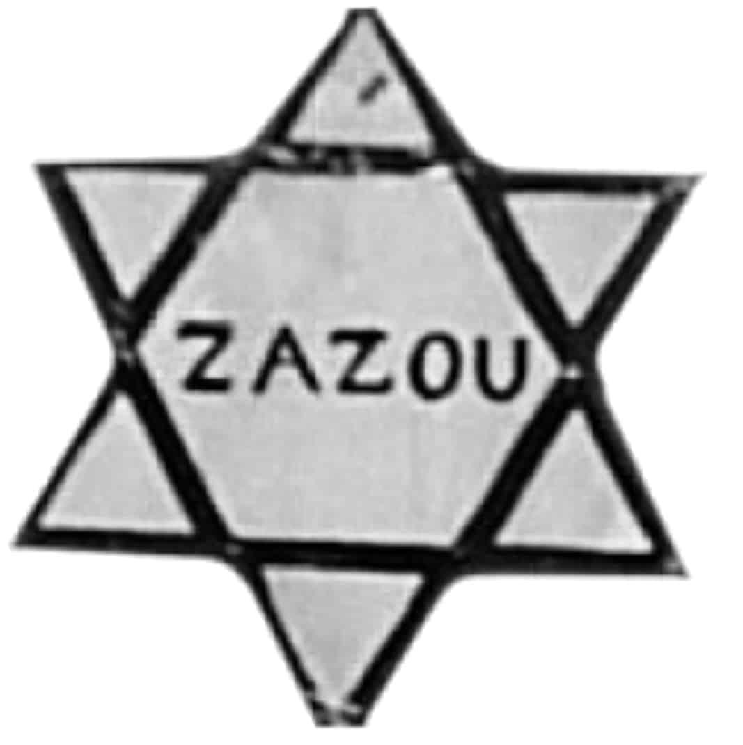 La estrella que los nazis colocaban en la pechera de las prendas que utilizaban los judíos, convenientemente 'cutomizada' por los 'zazous' con ese mismo nombre, en señal de rebeldía y protesta. También la portaban en sus ropas.