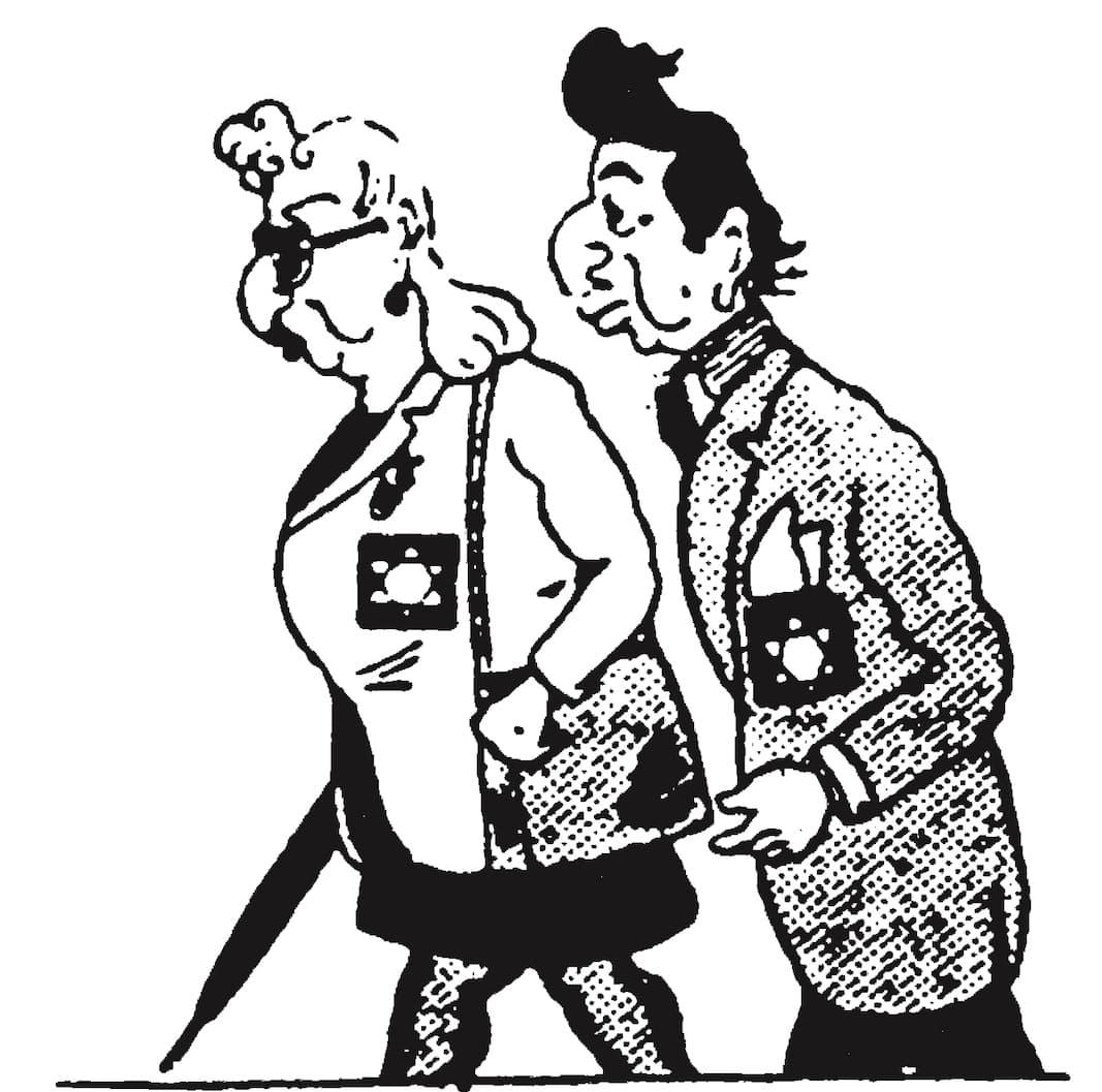 """""""Diremos lo que queramos... Pero así somos aún más zazous"""". Viñeta publicada en 'Les Optimistes', Au Pilori, 18 de junio de 1942."""